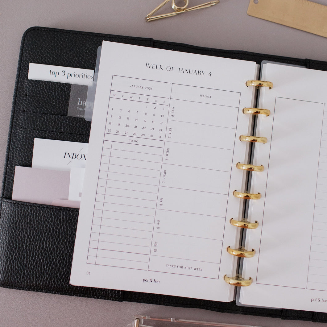 2021 Dated Monthly + Weekly Planner Inserts // Half Letter Discbound