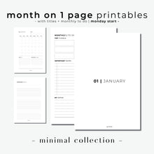 Load image into Gallery viewer, PRINTABLE // Month On 1 Page Planner Insert (MO1P) with Monthly Dashboard // Minimal