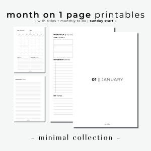 PRINTABLE // Month On 1 Page Planner Insert (MO1P) with Monthly Dashboard // Minimal