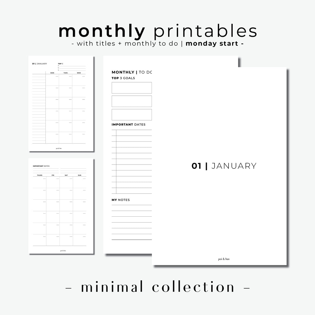 PRINTABLE // Monthly Planner Insert (MO2P) with Monthly Dashboard // Minimal