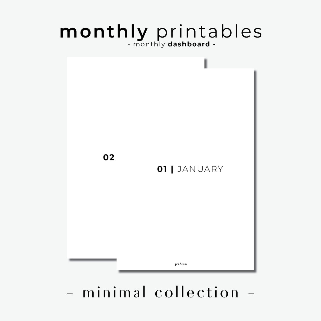 PRINTABLE // Monthly Dashboard Planner Insert // Minimal