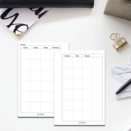 PRINTABLE // Monthly Planner Insert - Sunday Start