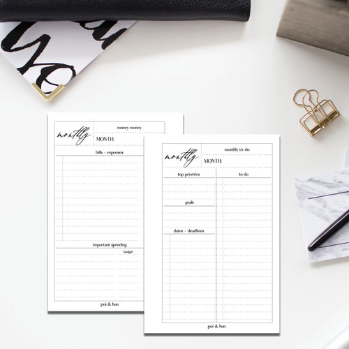 PRINTABLE // Monthly Lists Planner Insert