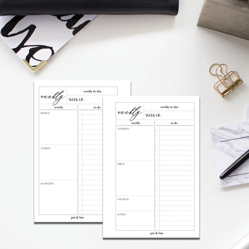 PRINTABLE // Weekly (Week On 2 Page) Planner Insert
