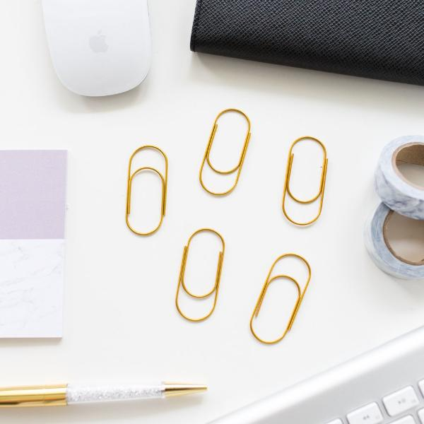 Gold Round Paper Clips