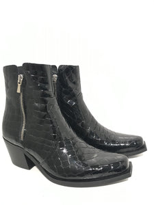 Boots flat nose croc Double zip