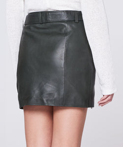 Eileen Leather Skirt Military Green