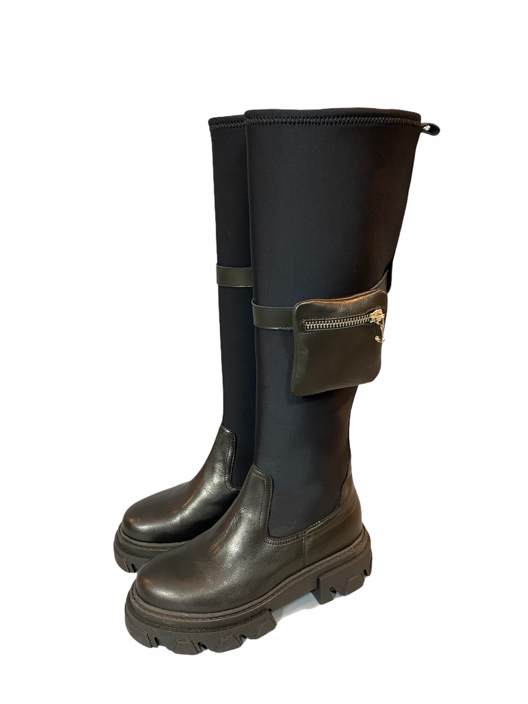 Black Leather boot with neopreen shaft