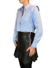 Load image into Gallery viewer, Classic Blue Cropped Blouse