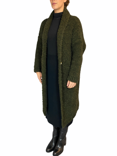 Forest Green Teddy Cappotto Revers Tasche