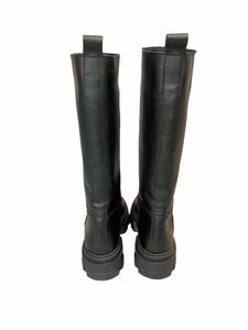 Black Leather boot with rubber sole