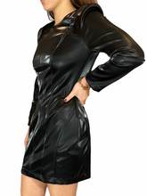 Load image into Gallery viewer, Mini Black Vegan Leather Dress