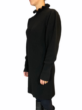 Load image into Gallery viewer, Knitted black dress High colar