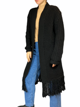 Load image into Gallery viewer, Black Fringe Maxi Vest