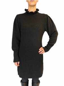 Knitted black dress High colar