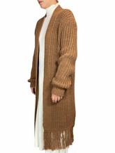 Load image into Gallery viewer, Camel Fringe Maxi Vest