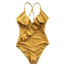 Load image into Gallery viewer, Yellow Solid One-piece Bikini