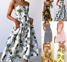 Load image into Gallery viewer, Floral Tunic Beach Dress Sundress Pocket