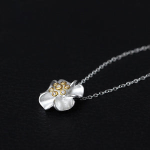 925 Sterling Silver Flower Necklace Zircon Link Chain Necklaces & Pendants For Women