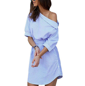 Dress Blue Striped Shirt Short Dress
