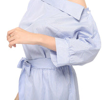 Load image into Gallery viewer, Dress Blue Striped Shirt Short Dress