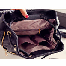 Load image into Gallery viewer, Black School Supplies Backpack Female PU Leather Backpack Japanese Street Bag