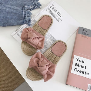 Beach Bow Summer Sandals Slipper Indoor Outdoor Linen Flip flops Shoes