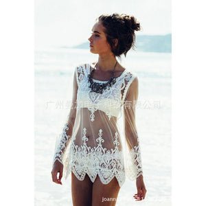 Lace Transparent White Color Bikini Cover Ups