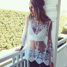 Load image into Gallery viewer, Lace Transparent White Color Bikini Cover Ups