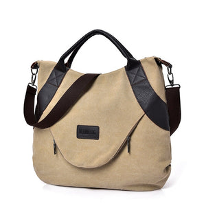 Summer Women Canvas Zipper style Shoulder Beach Bag
