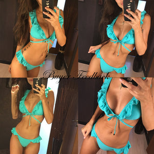 Ruffle Shoulder Bikini Set Pad Vest