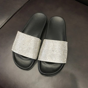 Crystal Diamond Bling Beach Slides