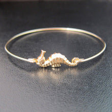 Load image into Gallery viewer, Gold/silver Seahorse Bangle Bracelet