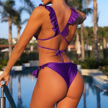 Load image into Gallery viewer, Ruffle Shoulder Bikini Set Pad Vest