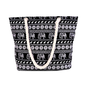 TEXU thailand national elephant pattern Women Canvas bohemian style striped Shoulder Beach Bag Female Casual Tote