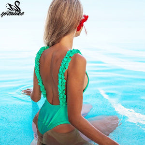 One-piece  Flowers Ruffle Shoulder