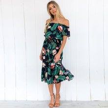 Load image into Gallery viewer, Floral Printed  Off Shoulder Short Sleeve Ruffle Dresses-With Belt