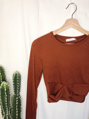 The Cash Ribbed Crop Top in Rust