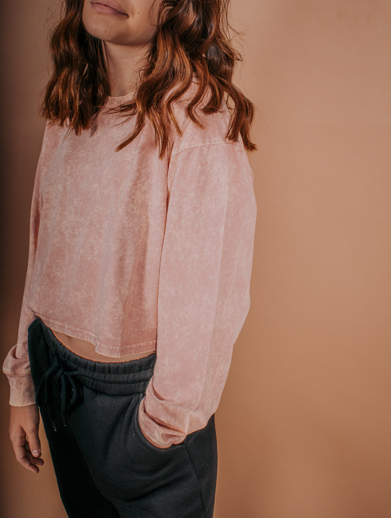 Acid Wash Top in Blush