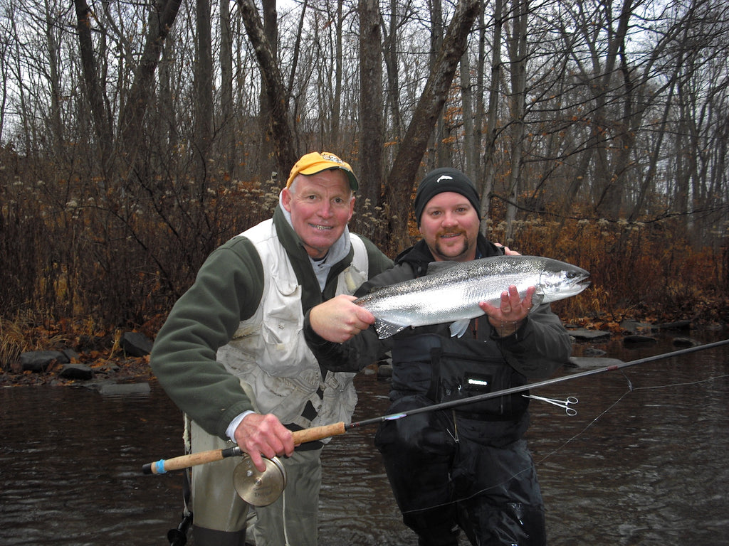 The Author and Wayne Ruston found chrome during a high water spell on the Salmon River