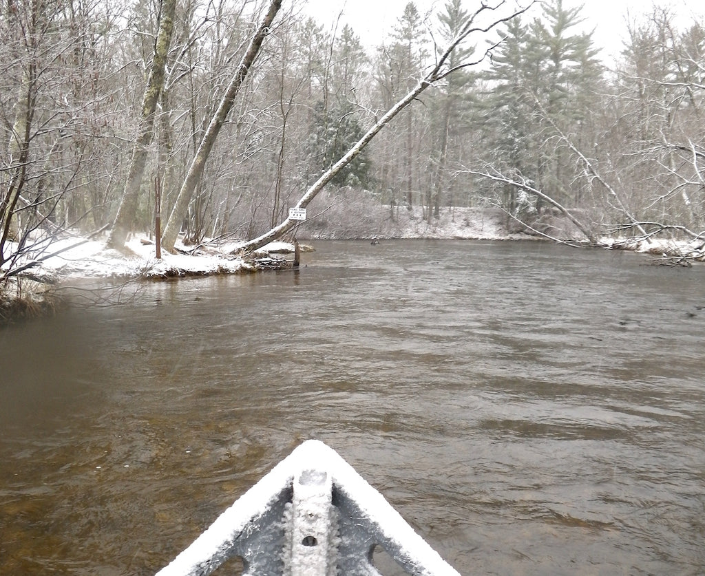 pere marquette river driftboat fishing snow