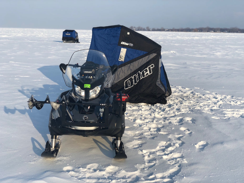 ice fishing great lakes with snowmobiles