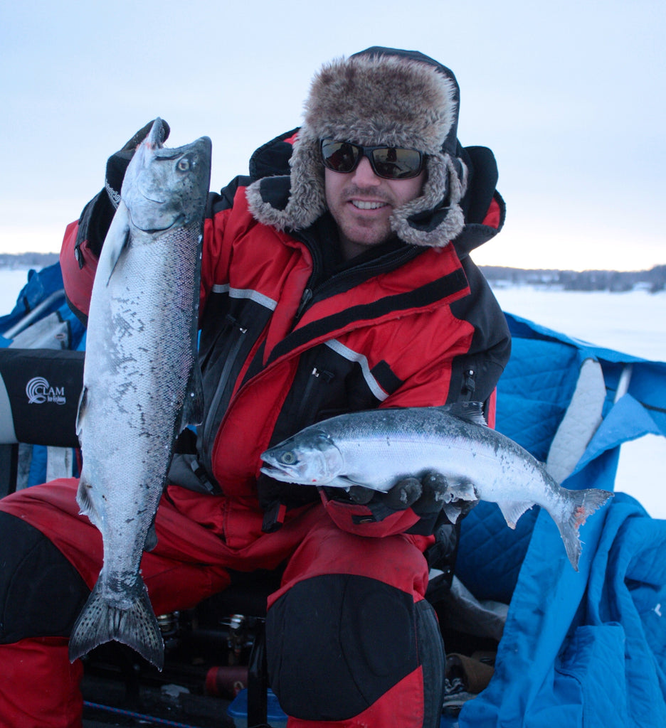 winter chinook fishing ice great lakes