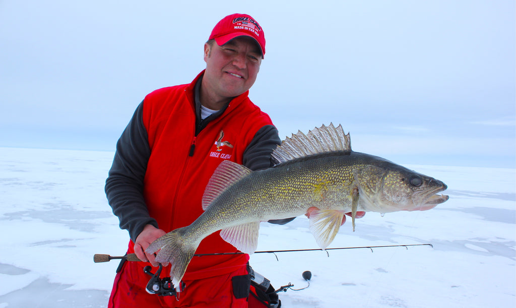 fishing walleye ice Tony Roach covers water fast and fishes fast with big lures on big water, using aggressive jigging techniques to maximize flash.