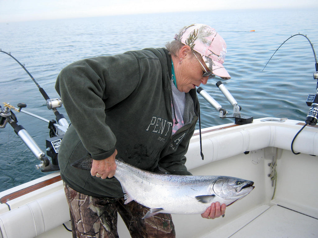 chinook catch fishing great lakes king salmon Snap swivels are a detail.
