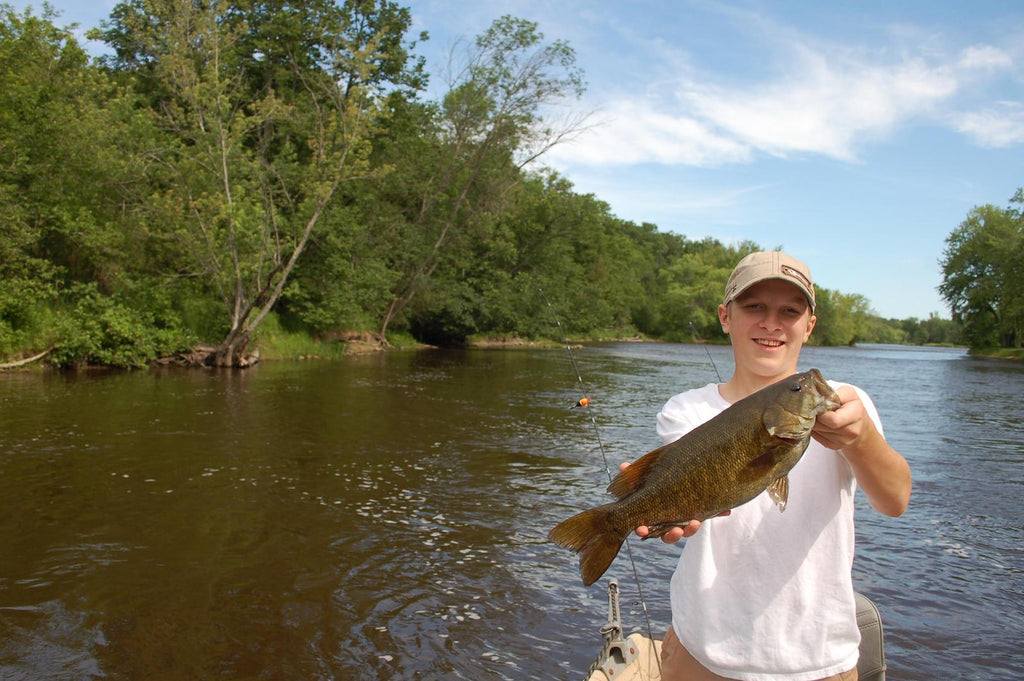 An Au Sable River smallmouth that took a popping bug.