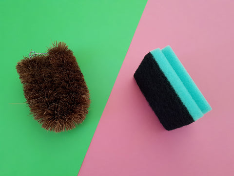 plastic sponge vs coir brush