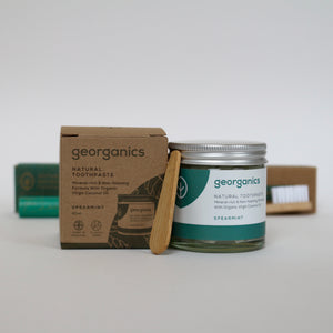 plastic-free toothpast jar with eco-friendly packaging