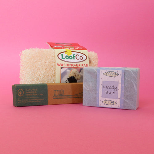 plastic-free soap bar, toothbrush and washing-up loofah