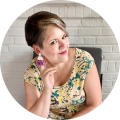Rebekah Thornhill, owner, maker, and designer behind R+D which includes bold, unique, and colorful 3D printed jewelry.